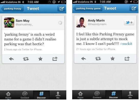 Tweets about Parking Frenzy 2.0